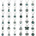 Vintage Women Tibetan Silver Turquoise Bib Crystal Pendant Long Necklace Jewelry