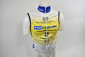 XS Men's Verge Colorado Springs Pro Cycling Warehouse Wind Vest Wht/Yel CLOSEOUT