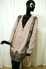 VALENTINO Couture Very Long Soft Taupe Cardy Sweater w/Alencon Lace Accents XL