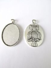 3pcs 30x40mm oval pendant setting with owl on back +glass jewellery craft UK
