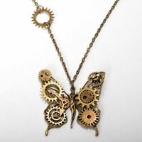 Vintage Goth Punk Butterfly Pendant Necklace Women's Steampunk Gear Necklace
