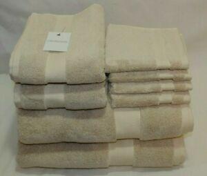 Calvin Klein Eight Piece Solid Medium Beige Bathroom Towel Set 100% Cotton New