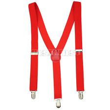 Bretelles Rouge Réglable Ajustable de Pantalon Femme Homme Elastique Clip-on