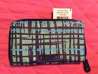 Vera Bradley Accordion Wallet in Navy/Teal Art Plaid NWT