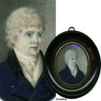 Antique French Portrait Miniature, Young VERY Pale Man c. 1780-1830, Oval Frame