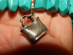 BEAUTIFUL FACETED NATURAL TURQUOISE & STERLING PURSE  CHARM STRETCH BRACELET
