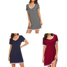 Women Cotton Long Shirts Short Sleeve Pajamas Nightwear T-Shirt Dress Nightgown