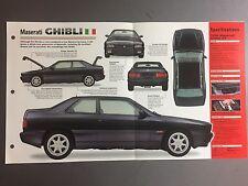 "1992 > MASERATI GHIBLI IMP ""Hot Cars"" Spec Sheet Folder Brochure #2-36 Awesome"