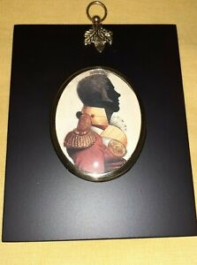 Portrait Miniature of an officer in silhouette in colour  (acorn hanger frame)