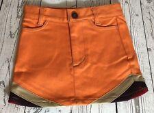 Ziddy Orange Retro 70s Style Kids Stretchy Skirt Made in Korea Size SSS