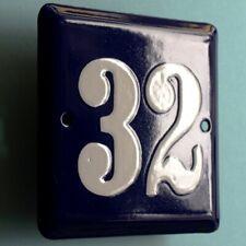 HAUSNUMMER 32 Altes Emailschild um 1955 PERFEKT Eingang Haustür Türschild FETT