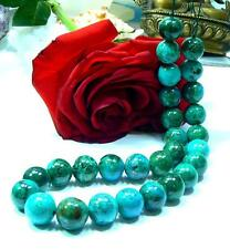 RARE NATURAL BLUE CHRYSOCOLLA GREN MALACHITE 14mm ROUND SPHERE BEADS STRAND