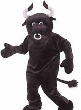 Bull Mascot Costume Black Plush Furry Deluxe Animal Cow Cosplay - Fast Ship -