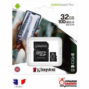 Carte mémoire Micro SD 32 Go Class 10 Kingston capacité 32 giga + Adaptateur