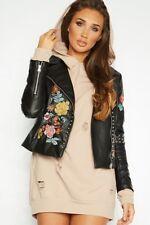 New Women URBAN MIST Flower Embroidered Studded Faux Leather Biker Jacket
