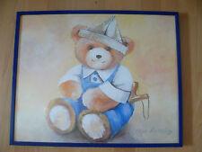 ** süßes Bild mit Bär ** Kinderzimmer ** mit blauen Rahmen **