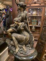 Antique French Bronze Statue Figurine  two maidens, Circa 1880