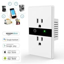 Smart WIFI Wall Outlet Plug Duplex Receptacle Switch Wireless In-Wall Socket New