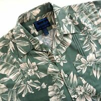 Hawaiiabera Hawaiian Bespoke Guayabera Shirt Plumeria Palm Leaves Green XL