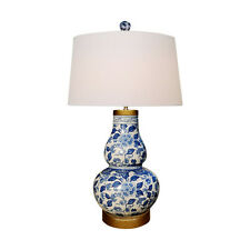 Blue and White Floral Gourd Vase Porcelain Table Lamp 30""