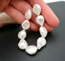 """9 GORGEOUS AA+ RAINBOW WHITE IRIDESCENT COIN CULTURED FRESHWATER PEARLS 4.75"""""""