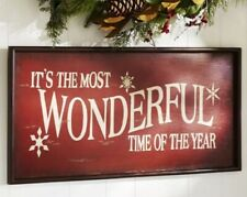 Pottery Barn It's the Most Wonderful Time of the Year Sign - Red Christmas 🎄
