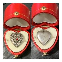 Vintage 1940's Sterling Silver Repousse Puffy Heart Bracelet Charm W/ Red Stone