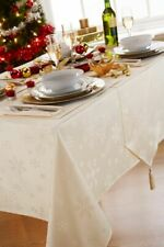 "Large Rectangular Cream Snowflake  Christmas Tablecloth 52"" x 108"""