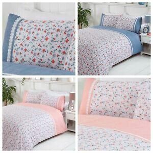 Bedding Heaven®  PENELOPE DUVET COVER SET - BLUE or BLUSH - FLOWERS - LACE