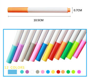 12pcs Liquid Chalk Pens Marker Colours White board Wipe Clean Red Blue White