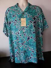 NWT Mens Silk Camp Shirt Cool Hawaiian Casual Button Down Brite Grapics New XL