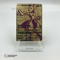 Carte Pokemon Mewtwo GX EX Gold Fan Made Custom Metal Card RARE