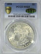 1898 P Morgan Dollar PCGS MS65 CAC Full White Great Frosty Luster, PQ #73G