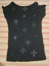 Bettina Liano Black Shirt Dress - Bead Detail - Cut Out Shoulder - Size S (8-10)