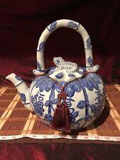Antique Vintage Large Asian Porcelain Blue & White Pumpkin Teapot w/ Frog Lid