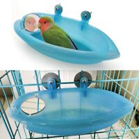 Pet Birds Cage Plastic Bath Basin With Mirror For Small Bird Parrot LuGe lskn