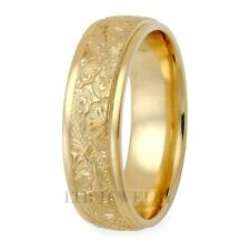 18K SOLID YELLOW GOLD HAND ENGRAVED MENS WEDDING BANDS RINGS