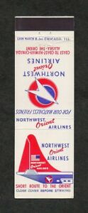 Northwest Orient Airlines Unused Vintage Front Strike Matchcover Matchbook Cover