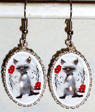 Ohrringe Katze Tiere Damen Ohrschmuck Durchzieher Hänger Weiß Edelstahl Glas