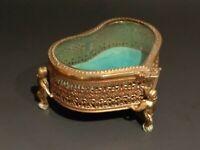 Vintage Heart Shaped Jewelry Box Gold Tone Filigree, Cupids, Green Velvet, Glass