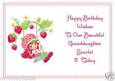 Strawberry Shortcake Inspired Personalised Hand Made Printed Birthday Card