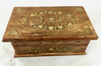 Vintage Hand Made Carved Wood Trinket Box Brass Inlay Hearts Flowers India