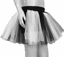 neon uv White Black Tutu Skirt Fun Dance fancy emo Goth costume Birth day Party