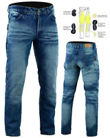 Bikers Gear Men's Stone Wash Kevlar® Lined Motorcycle Jeans Optional CE Armour