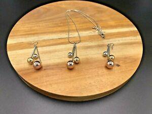 3 Tone Beaded Necklace & Earring Set