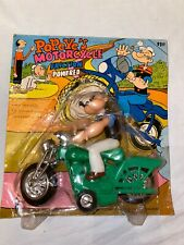 Scarce 1971 Popeye Friction Motorcycle Larami Plastic Carded Hong Kong