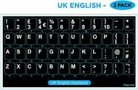 2 PACK English UK Keyboard Replacement Stickers White on Black Any PC Computer