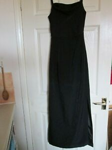 black evening dress size 12 / 14 beaded neck strap party frock M ladies frock