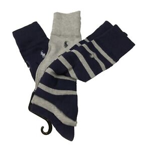 Polo Ralph Lauren Men's Navy-Gray-Stripe Assorted Dress Socks