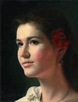 Dream-art Oil painting 阿列克谢安东诺夫油画作品 女孩肖像油画 Alexei Antonov girl portrait canvas